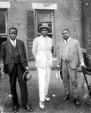 Marcus Garvey with Prince Kojo Tavalou-Houenou of Dahomey and George O. Marke